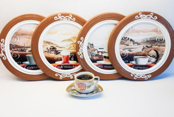 Coffee decor coffee kitchen decor coffee plates set tea decor coffee wall : coffee decor plates - pezcame.com