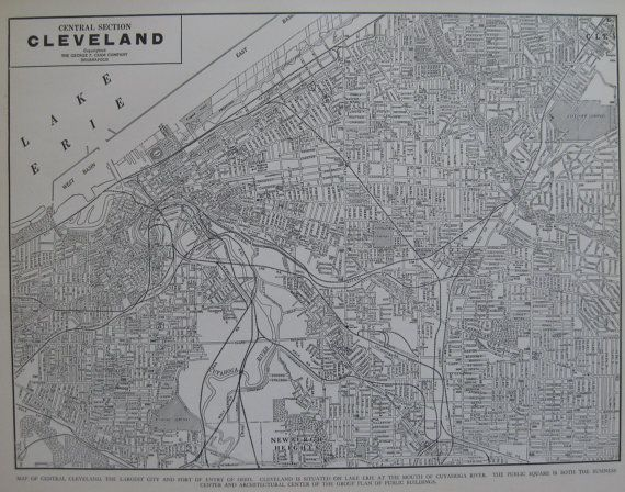 CLEVELAND Map of Cleveland Ohio VINTAGE 1942 Black by plaindealing