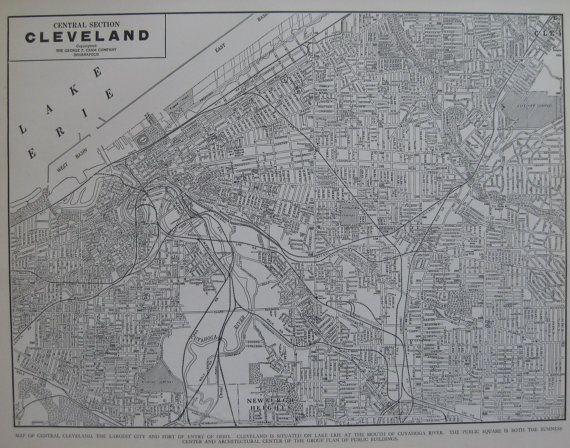 CLEVELAND Map of Cleveland Ohio VINTAGE 1942 Black by plaindealing