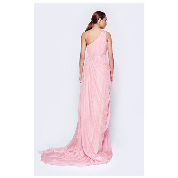Fame&Partners Long Pleated Blush Odessa Dress ($229) ❤ liked on Polyvore featuring dresses, gowns, blush, long formal dresses, plus size formal dresses, plus size formal gowns, plus size bridesmaid dresses and plus size evening dresses