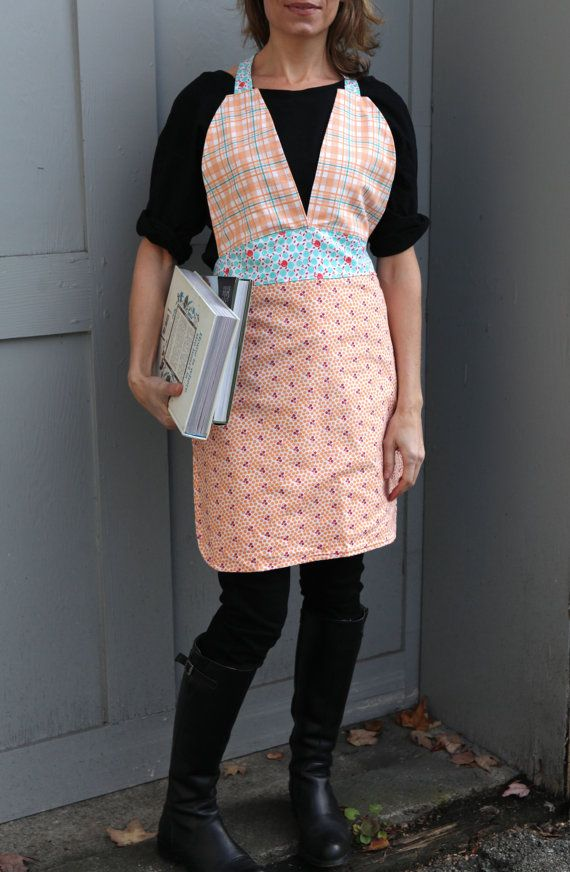Friday Night Apron  Reversible Orange/Blue and by QuiltsbyNona, $27.00