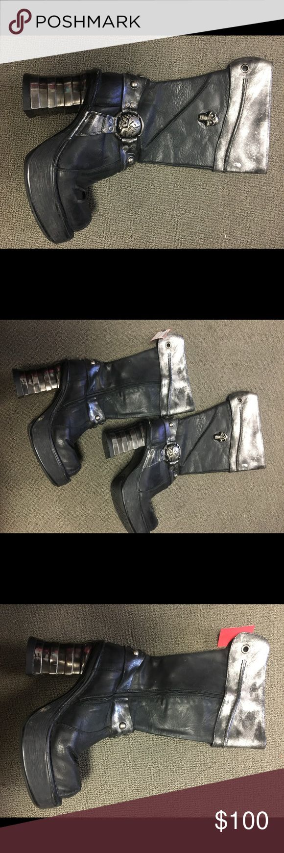 New Rock boots Like new New Rock women's boots size 39. Has 3 inch metal heel with 1 inch platform front. Color is mainly black, has silver around the folded top of the boots. 2 skull emblems adorn each boot. Has square toed style. In great condition! New Rock Shoes Combat & Moto Boots