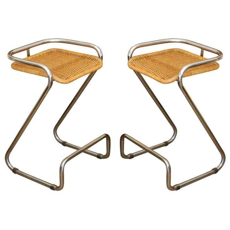 1stdibs | Pair of chrome and wicker bar stools