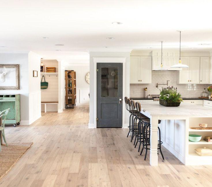 Open floor plan kitchen dining area - love the pantry door eclecticallyvintage.com