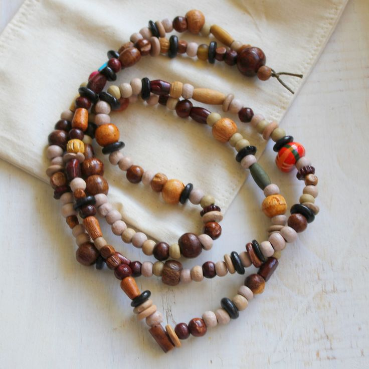 Boho Wooden Necklace by earlybirdcreations on Etsy