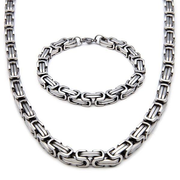 Pour hommes 8 mm Acier Inoxydable BYZANTIN Chaîne Collier et Bracelet Set Silver