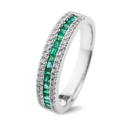 Inel cu smaralde si diamante C110