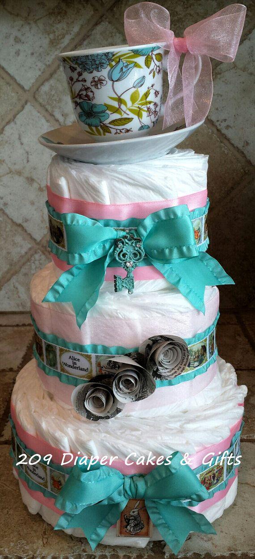 Diaper Pyramid For Baby Shower Part - 39: Vintage Alice In Wonderland Diaper Cake For Baby Girl Shower