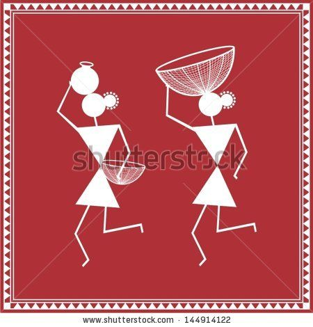 Indian tribal Painting. Warli Painting - stock vector
