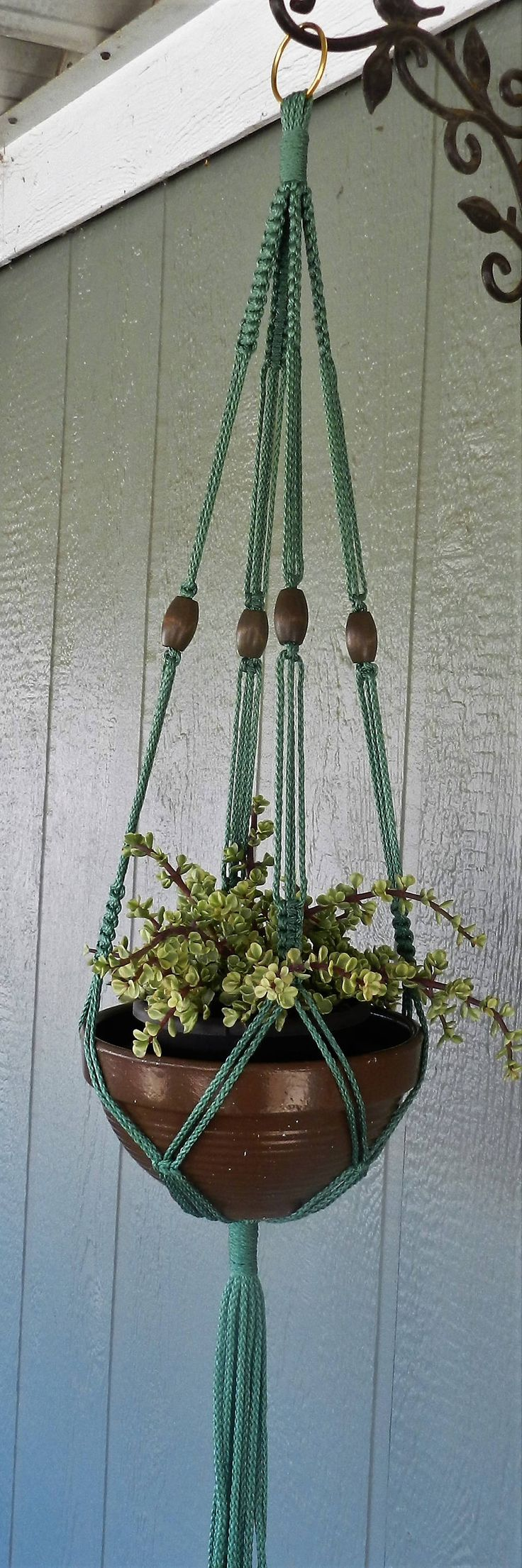 Excited to share the latest addition to my #etsy shop: This 46 Inch Sage Plant Hanger is made from Macrame Cord(Polyolefin Cord) which is weather and fade resistant. http://etsy.me/2zwE225