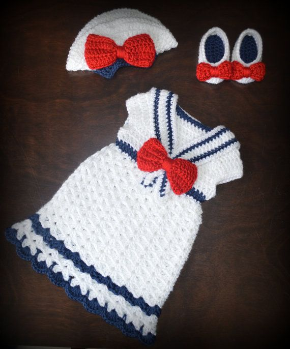 Crochet Sailor Hat & Matching Dress with Shoes by CubbyCreations, $85.00