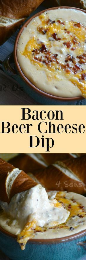 Bacon Beer cheese dip: 1/2 lb of bacon strips chopped, 1 tbsp butter, 1/2 white onion diced, 1 tbsp Dijon mustard, 1 tbsp stone ground mustard, 8 oz cream cheese softened, 1 12 ounce lager style beer, 6 cups shredded sharp cheddar cheese, 1-2 dashes of Tabasco sauce or more to taste if you like things on the hotter side