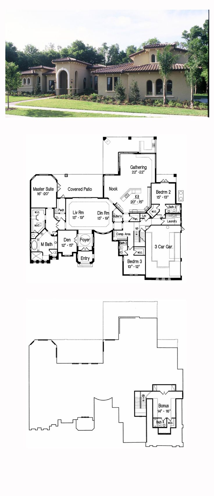 Italian House Plan 64710 | Total Living Area: 4687 sq. ft., 3 bedrooms and 4.5 bathrooms. #italianhome