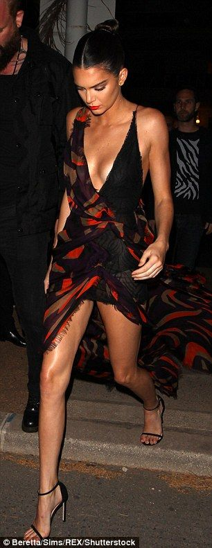 Leggy look: The model muse made the most of her long and lean legs in the flattering gown...