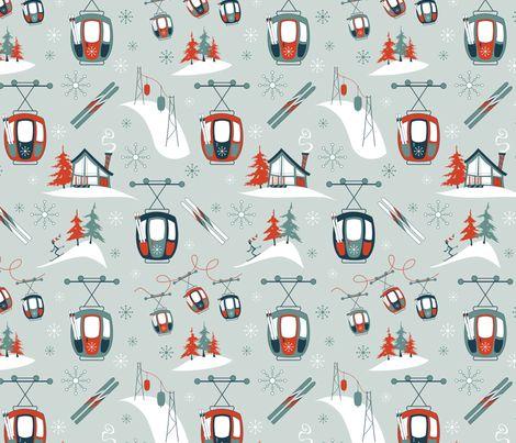 Vintage Ski Gondolas fabric by brendazapotosky on Spoonflower - custom fabric