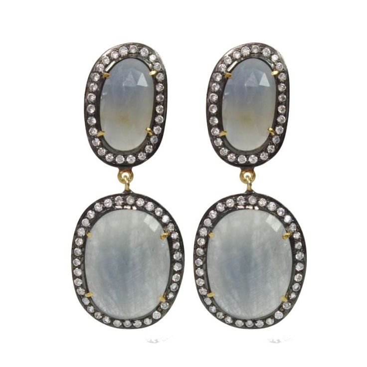 FREE SHIPPING SOLID 925 STERLING SILVER  BLUE SAPPHIRE NATURAL GEMSTONE EARRING #SilvexStore #DropDangle
