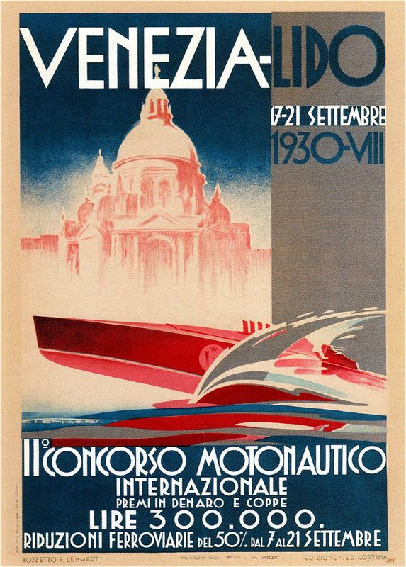 Franz Lenhart. Int'l Motorboats Competition. 1930
