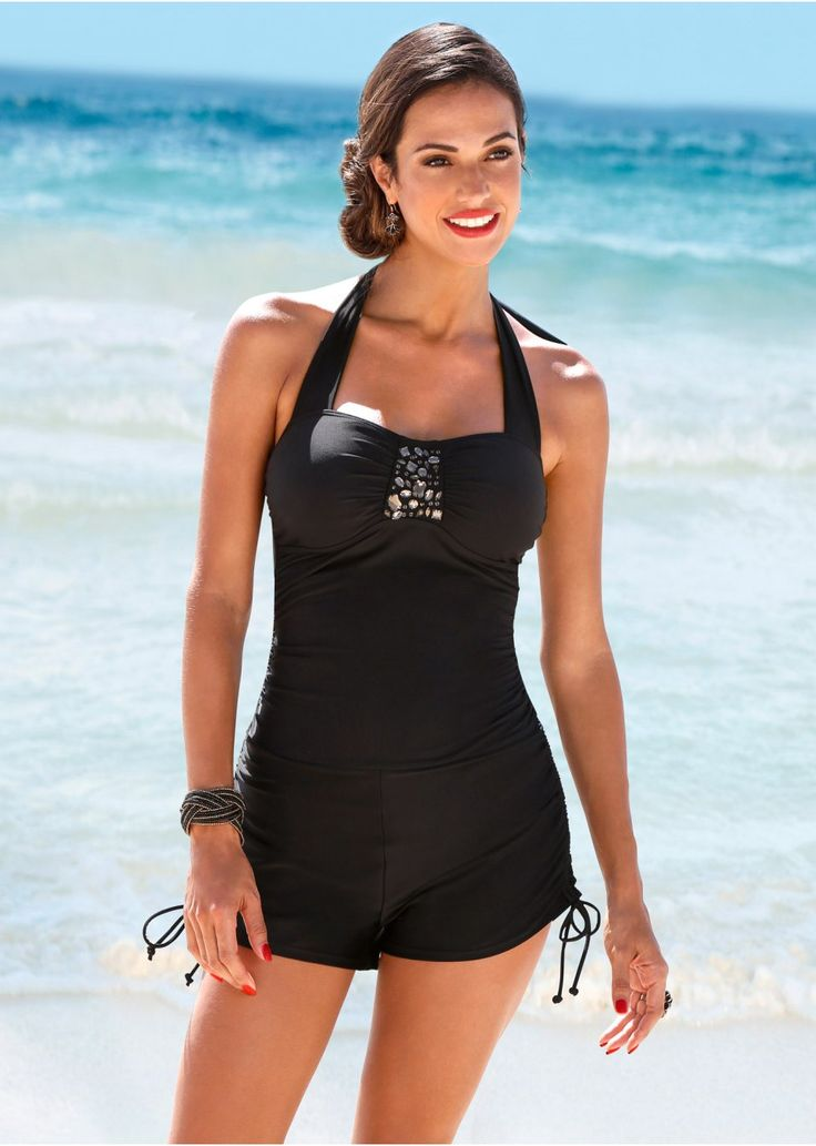 Eleganter Badeanzug mit Bein und Raffungen - schwarz