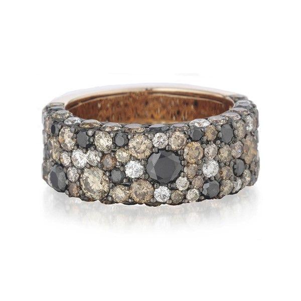 Designer: Christophe DanhierStyle: Paris Flash RingMetal: 18-karat rose gold, high polishStones: black, champagne, and white diamonds | Rings from Ham...