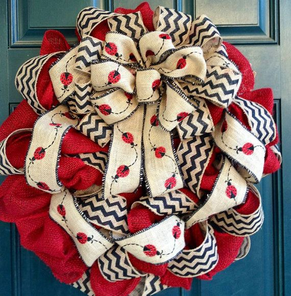 Ladybug Burlap and Chevron Wreath by tiffanynewcomb on Etsy