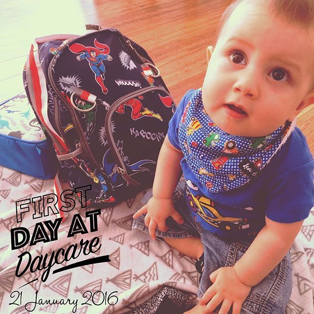 This lil one on his first day of daycare wearing his @levi_and_evelyn Traffic Jam bandana bib, Aunty @laulau85 New York Taxi Cab onesie and @potterybarnkids Superhero back pack! Growing up too fast! . @potterybarnkidsaus @potterybarnkidsbrisbane #babiesfirsts