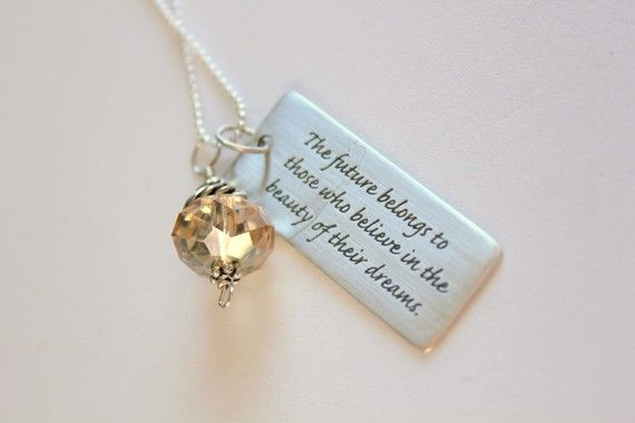 Custom Graduation Necklace, Sterling Silver Dream Quote Necklace, Graduation Gift, Mothers Day, Sterling, Inspiration, College Graduation Gift, Class of 2011, Graduation Quotes, High School Grad Gift, College Grad Gift, Word Jewelry, Grad Gift For Her