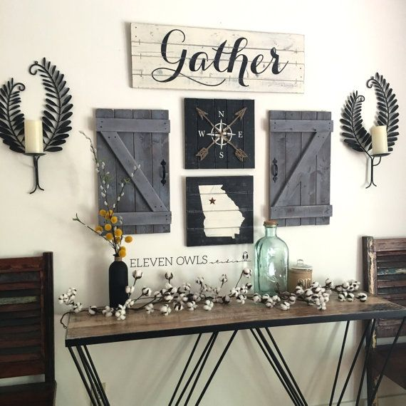 GATHER SIGN, 5 Piece SET, Rustic Gallery Wall Set, Rustic