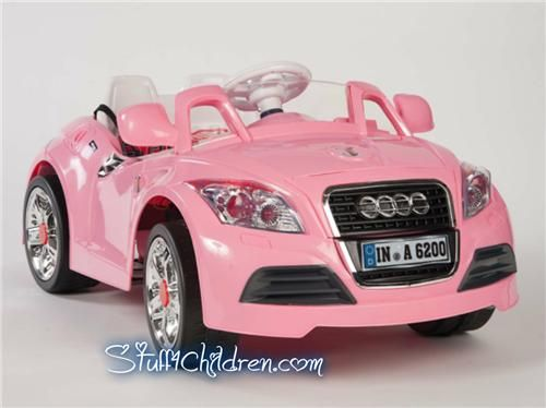 wm electric ride on car audi tt kids car battery operated pink front side