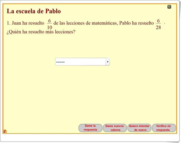"""""""Actividades interactivas de comparación de fracciones"""" (Aplicación de Matemáticas de Primaria)"""