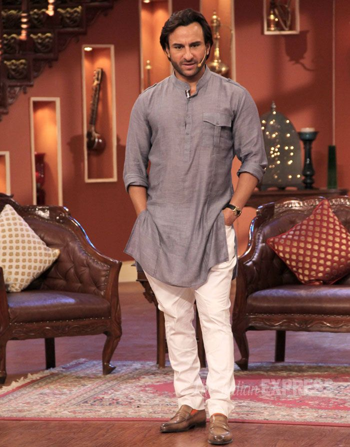 Saif Ali Khan dressed in a simple kurta pyajama on 'Comedy Nights With Kapil' #Bollywood #Style #Fashion