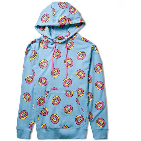 Odd Future Light Blue All Over Donut Hoodie Hypebeast Store ($80.00) ❤ liked on Polyvore featuring jackets and shirts