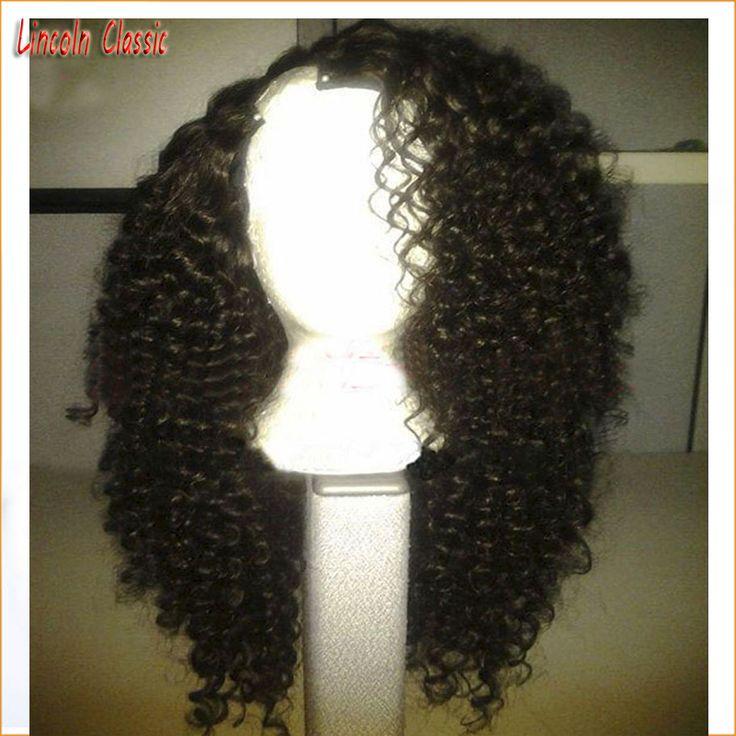 Brazilian virgin human hair kinky curly U part wig 100% human hair wig 1B right side part  u part human hair wigs with strap