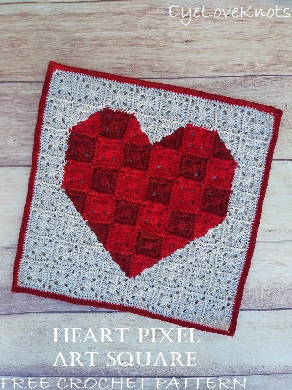 Heart Pixel Art Square Free Crochet Pattern Crochet Patterns Free Crochet Pattern Granny Square Crochet Pattern