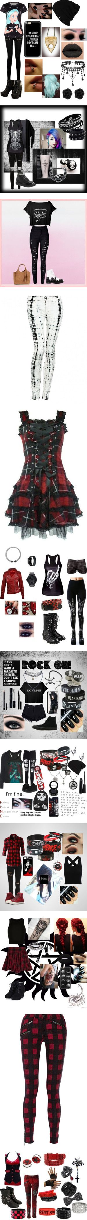 Emo/Goth/Punk Outfits by vampirekitty34 on Polyvore featuring Patagonia, Paige Denim, Casetify, Demonia, Valentino, WithChic, Dr. Martens, Oasis, women's fashion and jeans