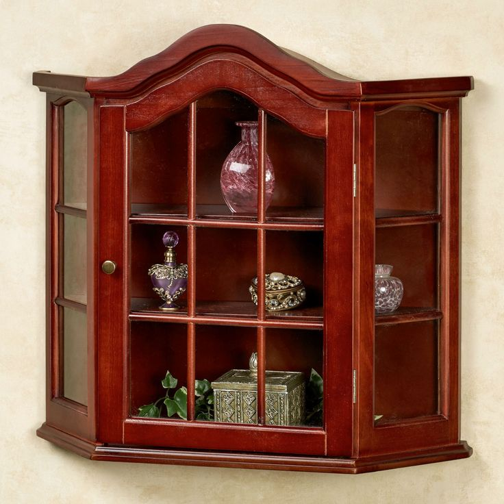 Aubrie Classic Cherry Wall Curio Cabinet