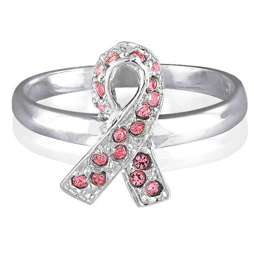 925 Sterling Silver CZ Pink Ribbon Breast Cancer Awareness Ring