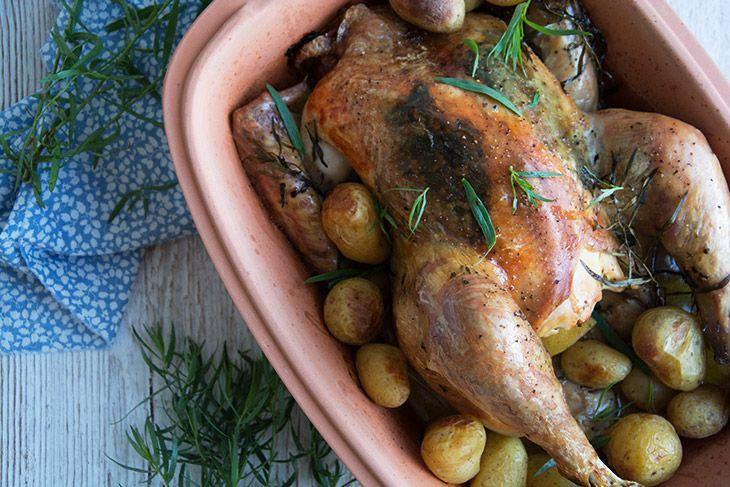Kylling med estragon i Rømertopf