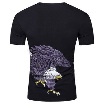 Summer Men's Eagle Print T-shirt V-neck Cotton Tees Casual Short Sleeve T-Shirt at Banggood