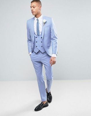Noose & Monkey Super Skinny Wedding Suit In Cornflower Blue