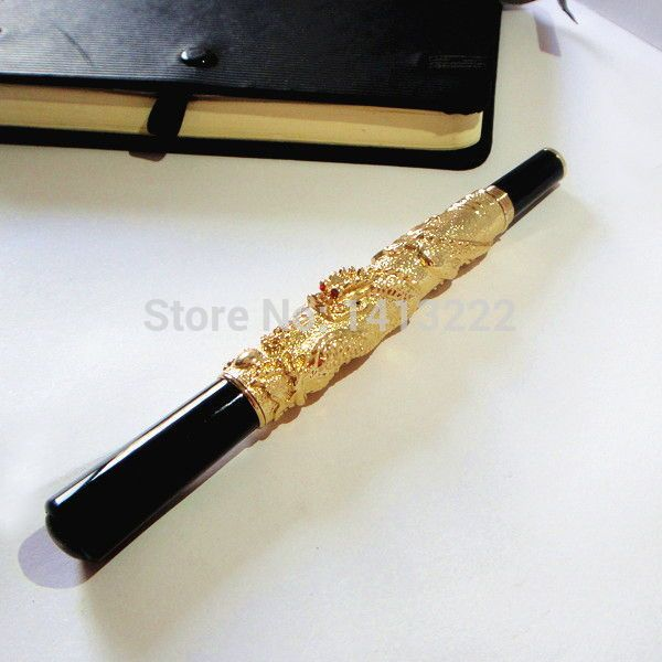 promo luxury gold color metal pen engraved with 3d dragon pen great quality unique gifts for men gift for #unique #pens