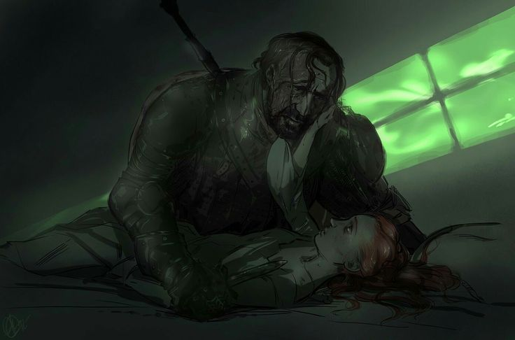 In the books, Sansa and Sandor's relationship is more developed and, frankly, more romantic. One night, Sandor goes into Sansa's room, holds a knife to her throat and asks her to sing for him. She feels blood and tears on his face. Later, she remembers kissing him, but many think Sansa imagined this.
