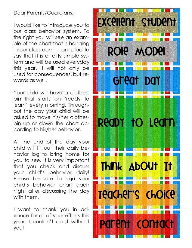 Rick Morris Clip Chart Parent Letter