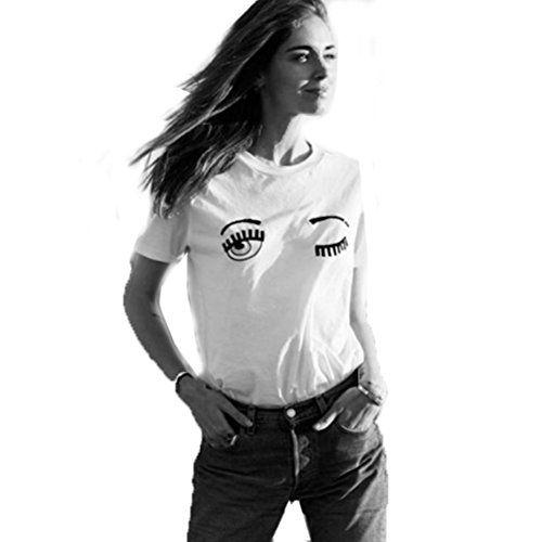 Camiseta para mujer manga corta en colores blanco y negro con un original diseño de ojos marcándose un guiño.