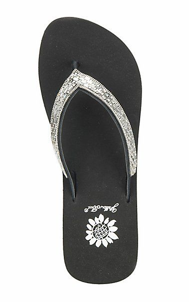 Yellow Box Women's Black with Clear Crystals Bling Flip Flops | Cavender's