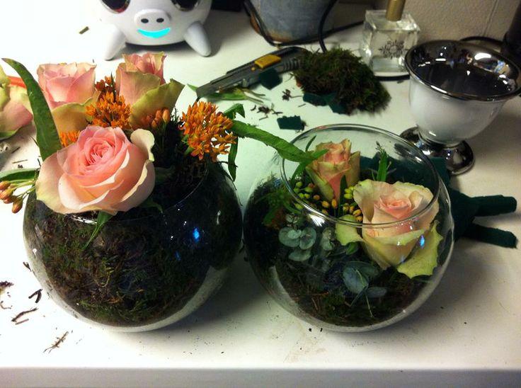 To dekorasjoner i samme potte, den til høyre er dekorativ, den til venstre er et forsøk som sene ble endret på