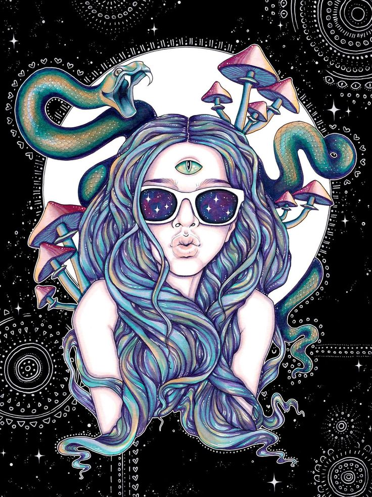 Trippy psychedelic art blue hair snakes