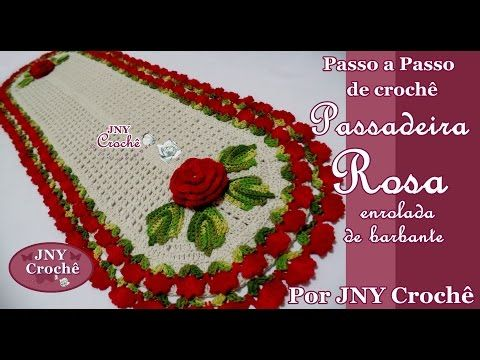 PAP Jogo de Tapetes de crochê Rosa enrolada por JNY Crochê - YouTube