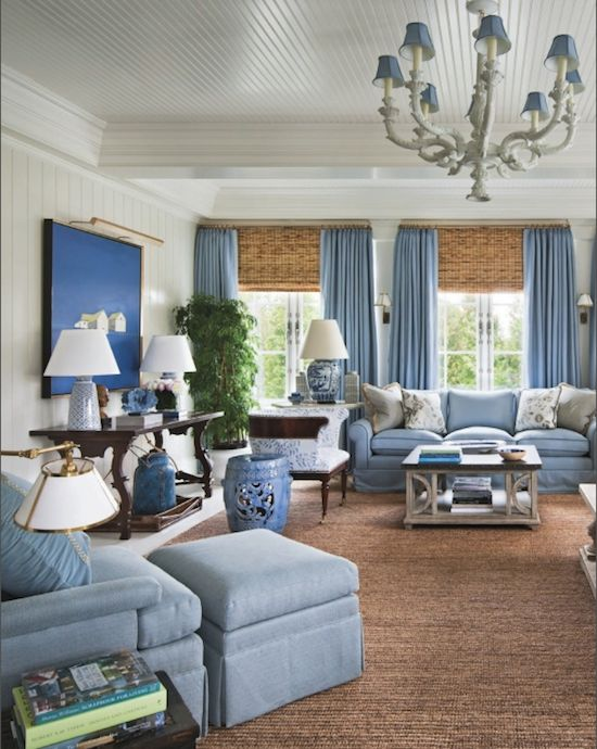 I love the warm rattan and natural fiber rug with cool blues and gray. (There is more gray in the rest of the room.) Alexa Hampton, Decorating In Detail