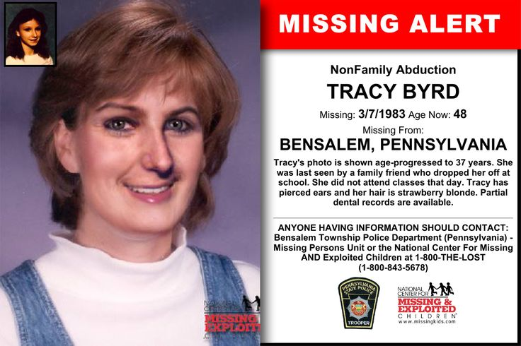 TRACY BYRD, Age Now: 48, Missing: 03/07/1983. Missing From BENSALEM, PA. ANYONE HAVING INFORMATION SHOULD CONTACT: Bensalem Township Police Department (Pennsylvania) - Missing Persons Unit.