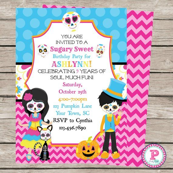 Day Of The Dead Birthday Party Invitation 5x7 Front Back Etsy Birthday Halloween Party Birthday Party Invitation Templates Party Invite Template